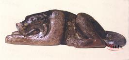 西汉 木雕卧狗