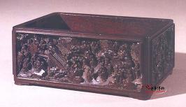 清乾隆 紫檀木雕《高士赏游》图长方盒