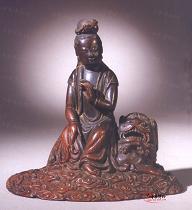 十七世纪 犀角雕文殊青狮坐像