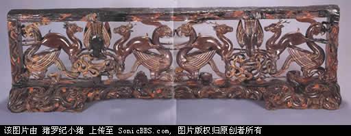 彩漆凤鹿木雕座屏